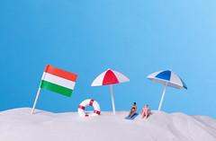Flag of Hungary on the beach