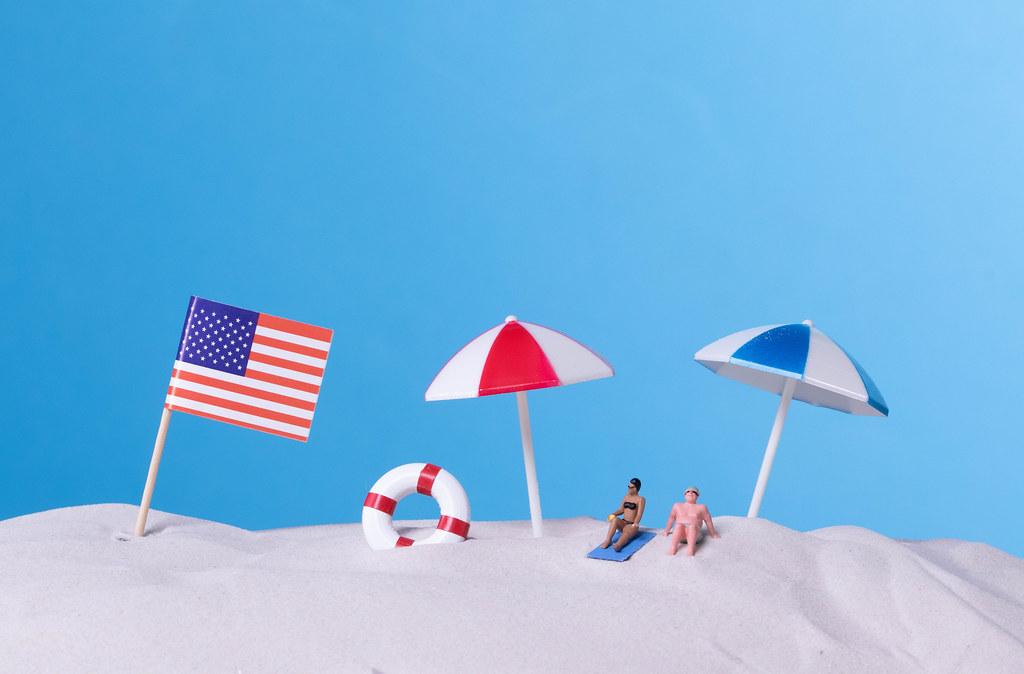 Flag of USA on the beach