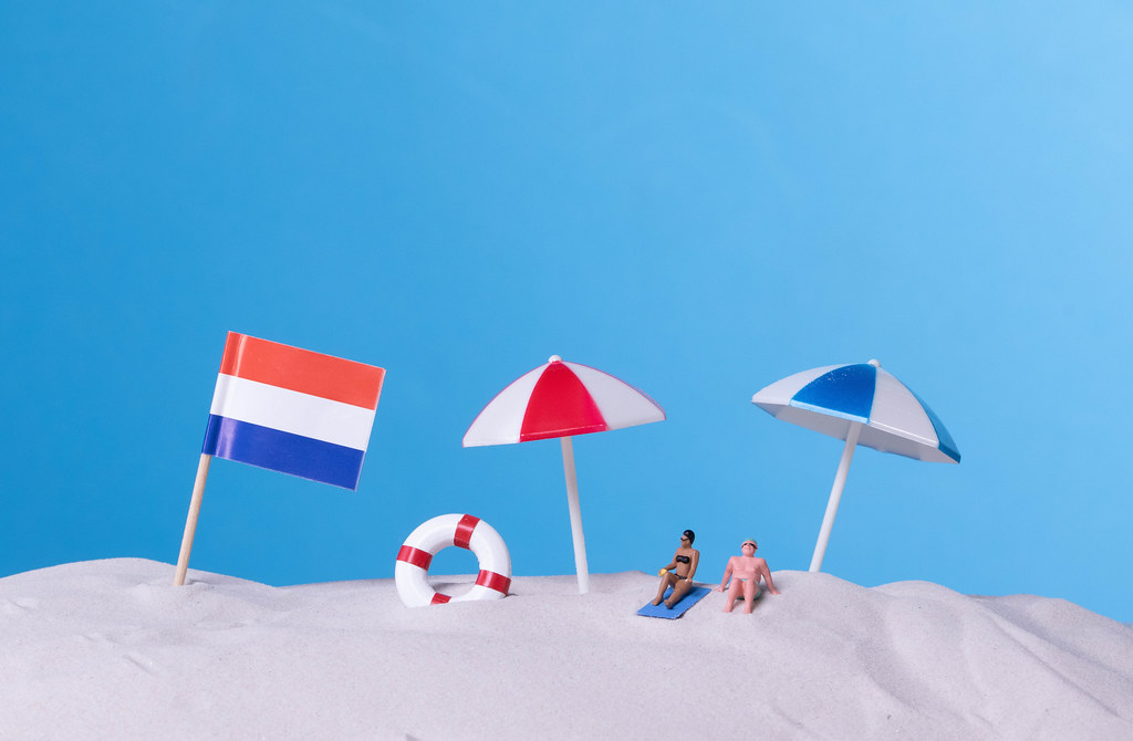 Flag of Netherlands on the beach