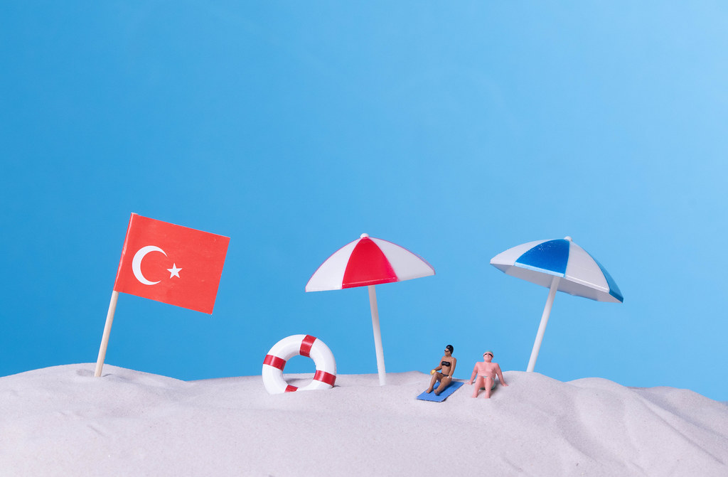 Flag of Turkey on the beach