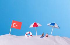 Flag of Turkey on the beach