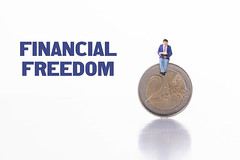 Man sitting on 2 Euro coin with Financial Freedom text