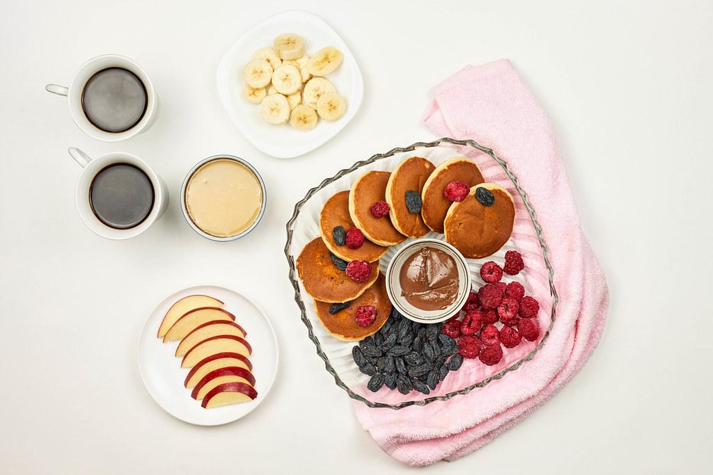 Breakfast feast on white background