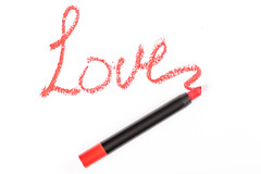 Love lettering made with lipstick