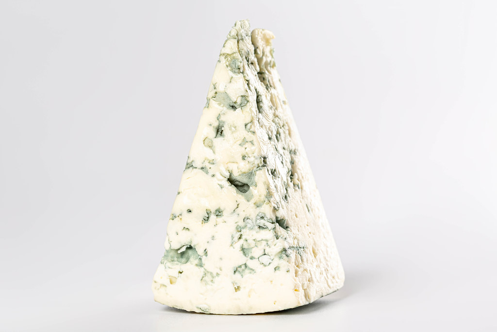 Fresh slice of dorblu cheese