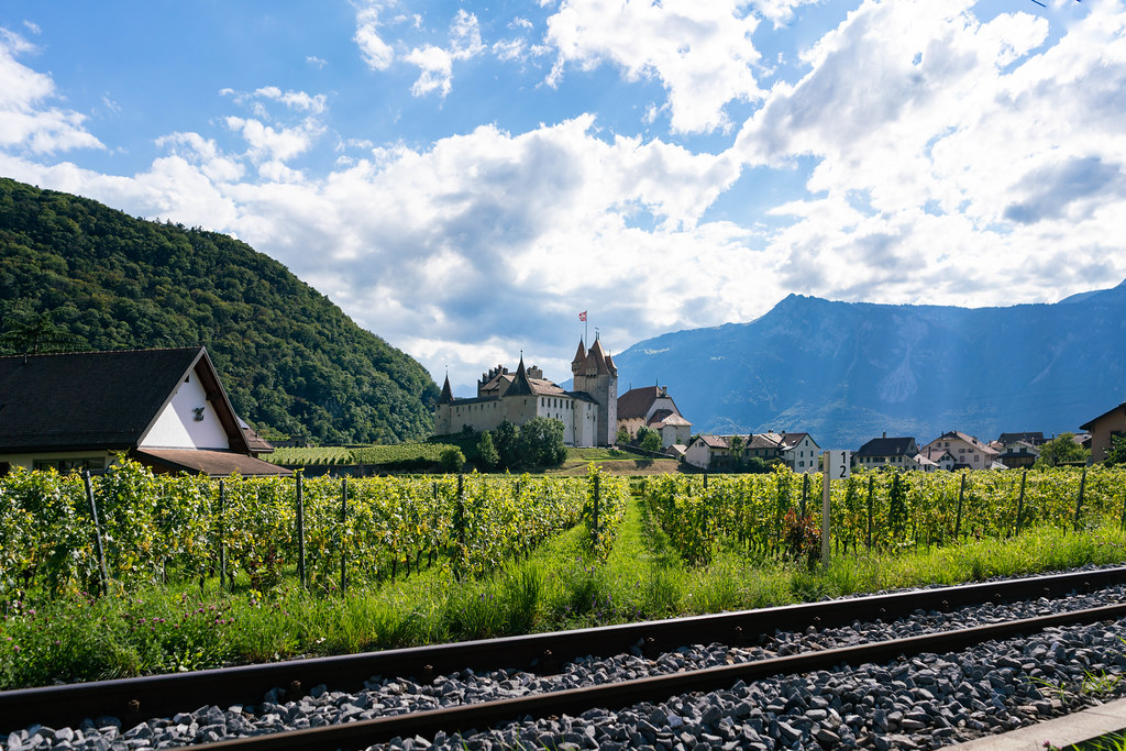 Swiss Château with vineyard fields and rail tracks in front of it