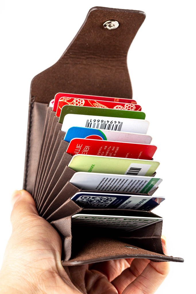 Brown case for cards and business cards in a woman's hand, close-up