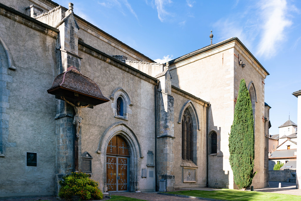 Back entrance to the Swiss church Pfarrei St. Theodul in Sion, Switzerland