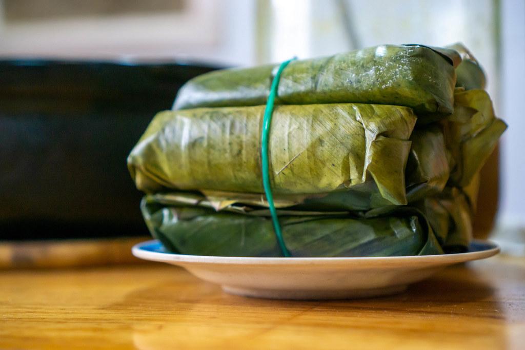 Close Up of Nem Chua - Vietnamese Fermented Pork Rolls on a Plate