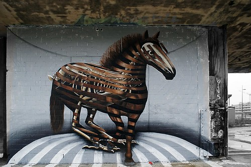 Horse and prehistoric Skeleton, Street Art, Ghent, Belgium