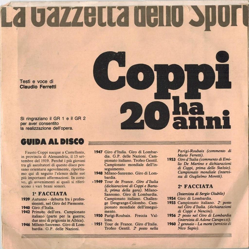 45 giri Gazzetta dello Sport - Testi e voce di Claudio Ferretti