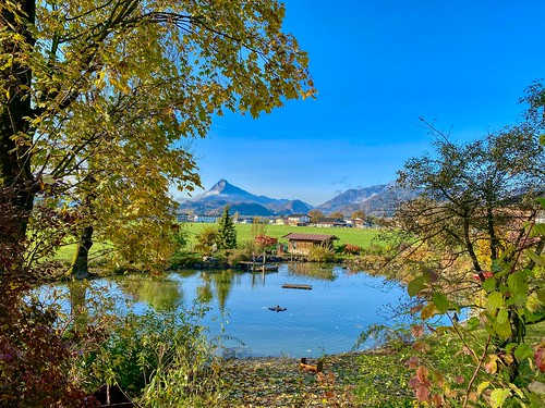 Pond with view of Pendling mountain in autumn near Ebbs in Tyrol, Austria
