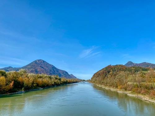 River Inn in autumn near Oberaudorf in Bavaria, Germany