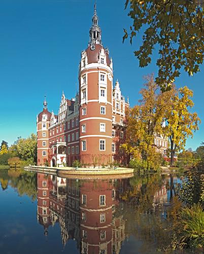Muskau castle in autumn
