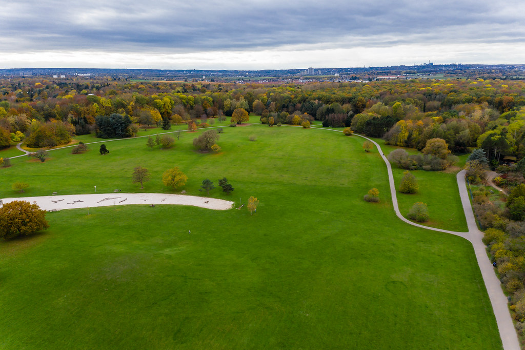 Aerial picture shows forest in the city: deserted nature of the botanical garden in cologne during autumn