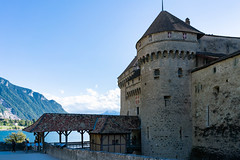 Entrance to the Château de Chillon with the view of lake Geneva