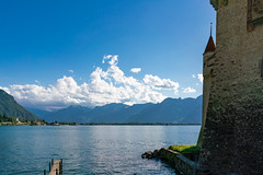 Lake Geneva with a castle wall rising on it