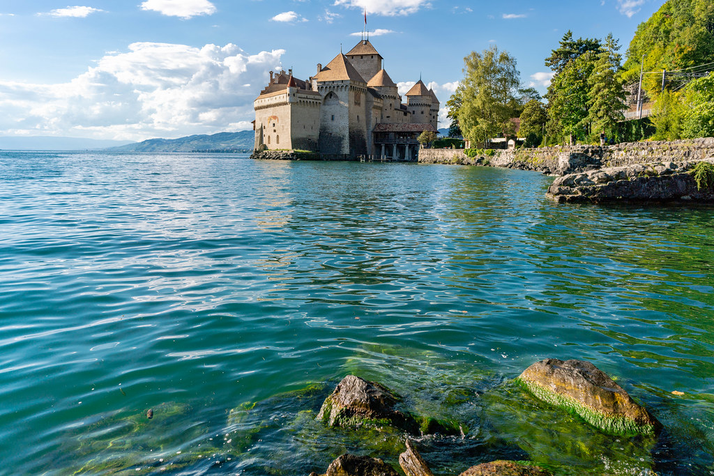 View of the medieval castle – Château de Chillon from the Geneva lakeside