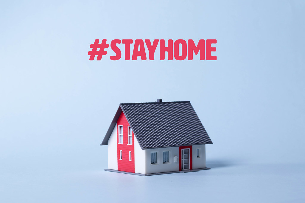 House on a light blue background with #Stayhome text