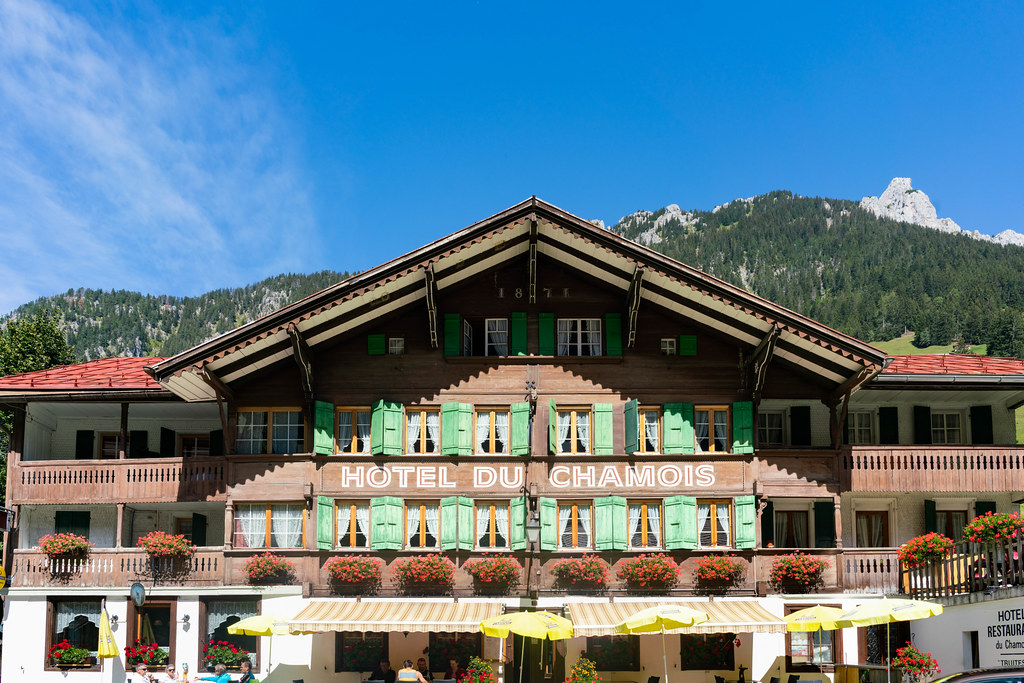 Old beautiful wooden hotel in Swiss mountains