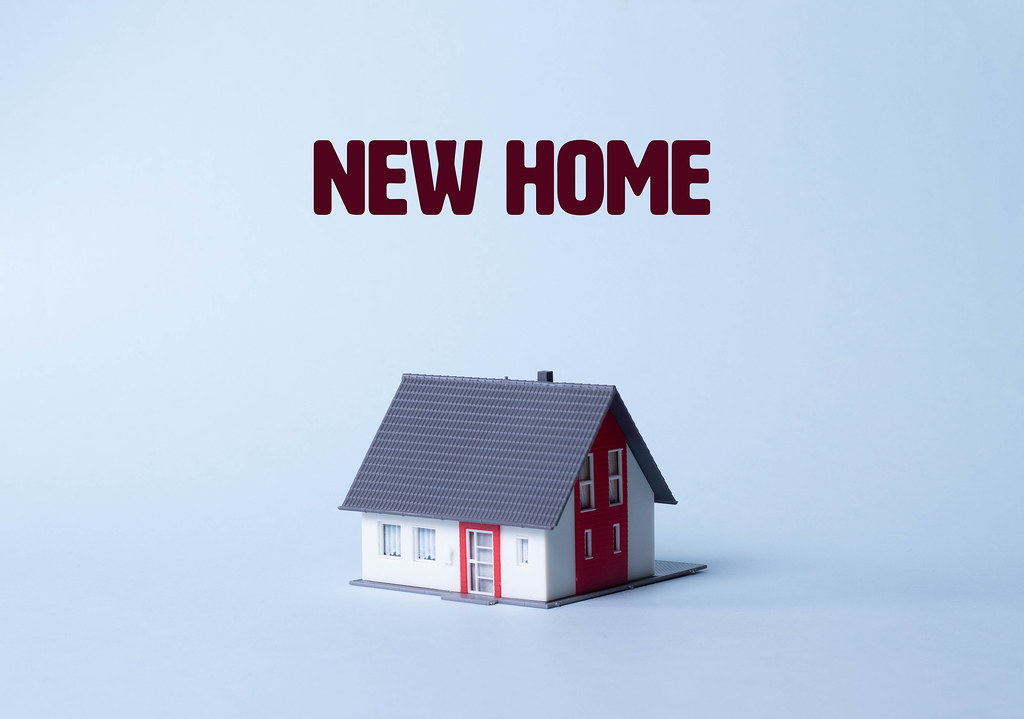 House on a light blue background with New home text