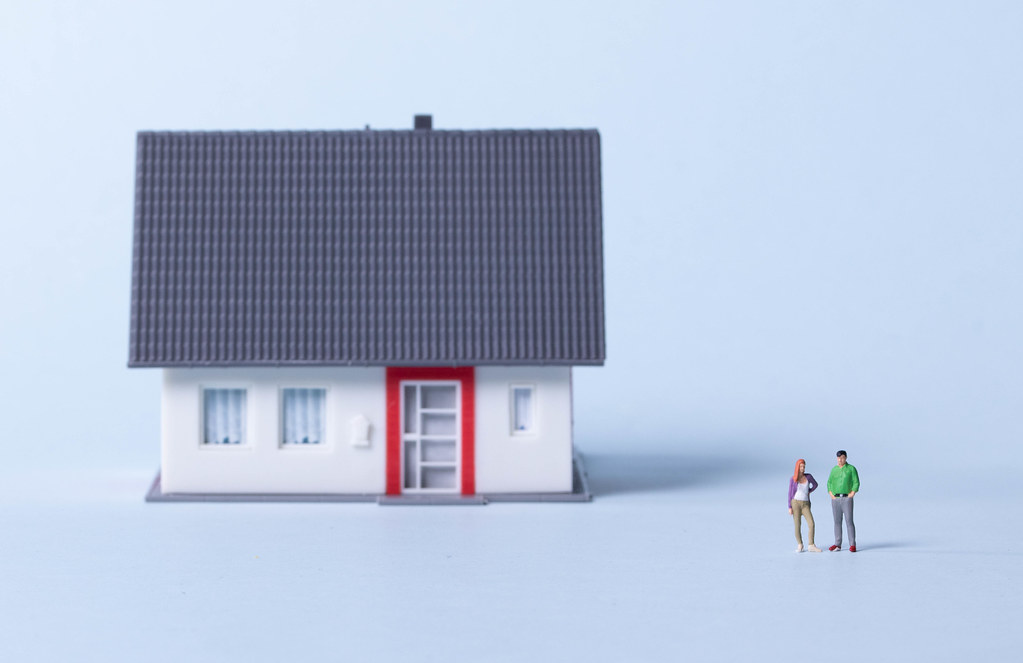 Couple with house on a light blue background