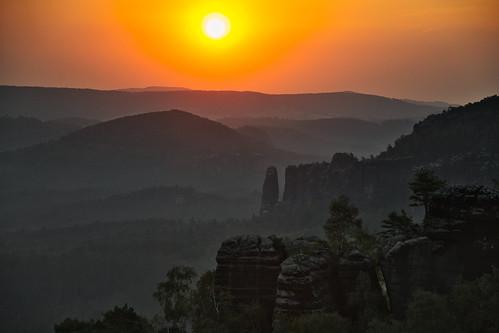 Sunrise over the National Park of Saxon Switzerland
