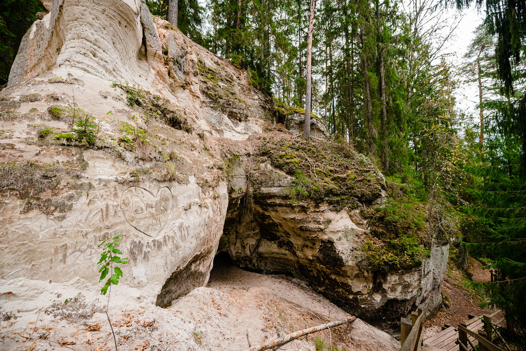 The white sandstone outcrops. Forest And Cave