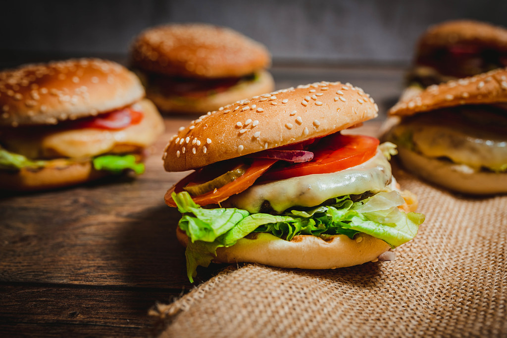 Cheese Beef Burger With Tomatoes,Red Onions