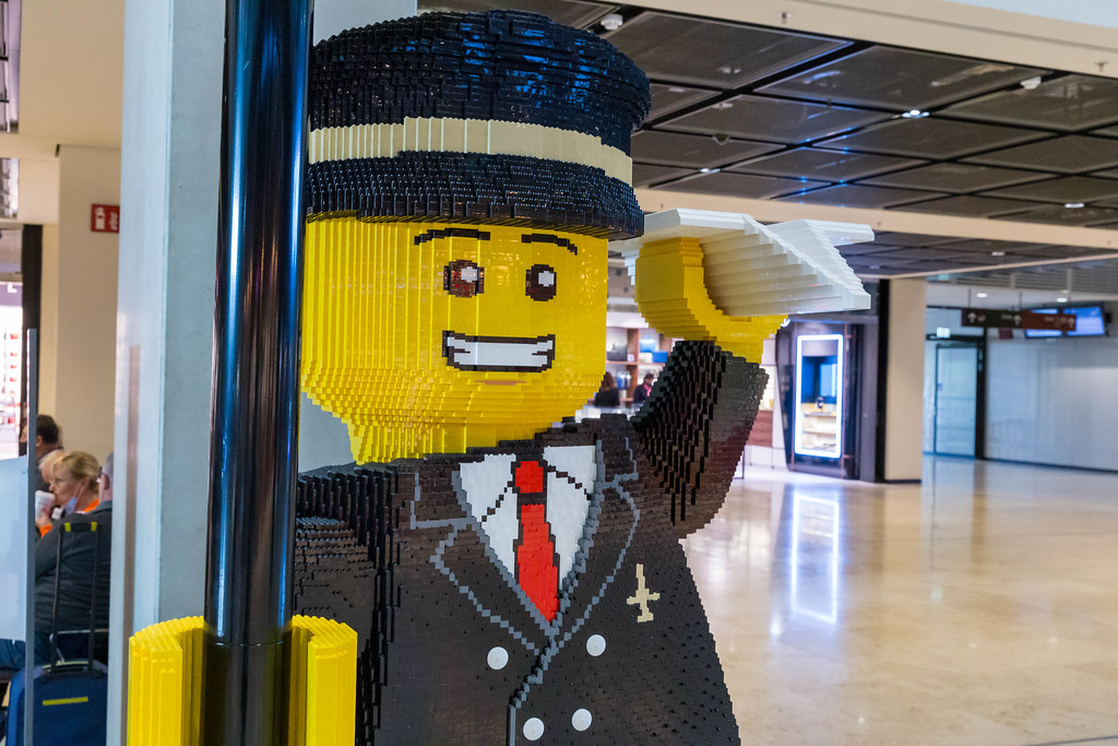 Close-up of an airplane pilot life-size figure made of LEGO bricks at the newly-opened airport in Berlin