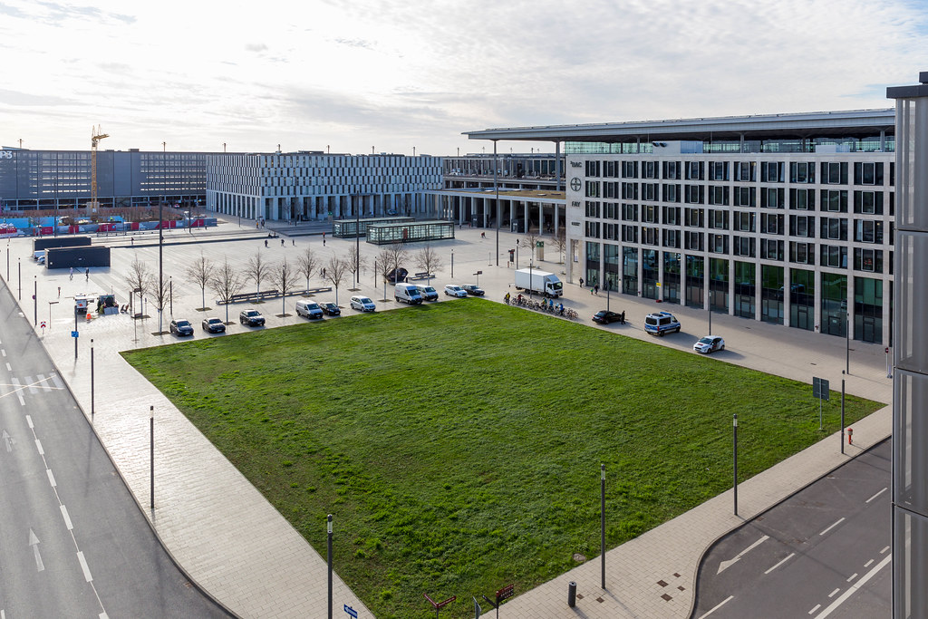 Willy-Brandt-Platz and the office building ²BAC, Berlin-Brandenburg Airport Center at BER