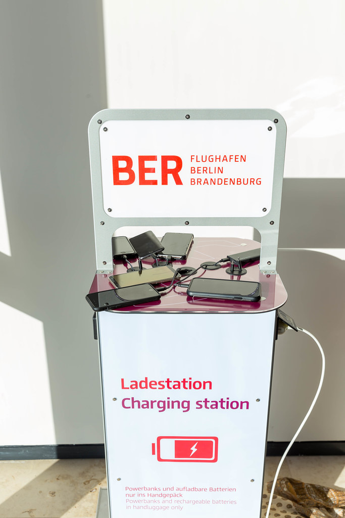 Charging station for travellers whose mobile phone has run out of battery at the new Berlin airport BER