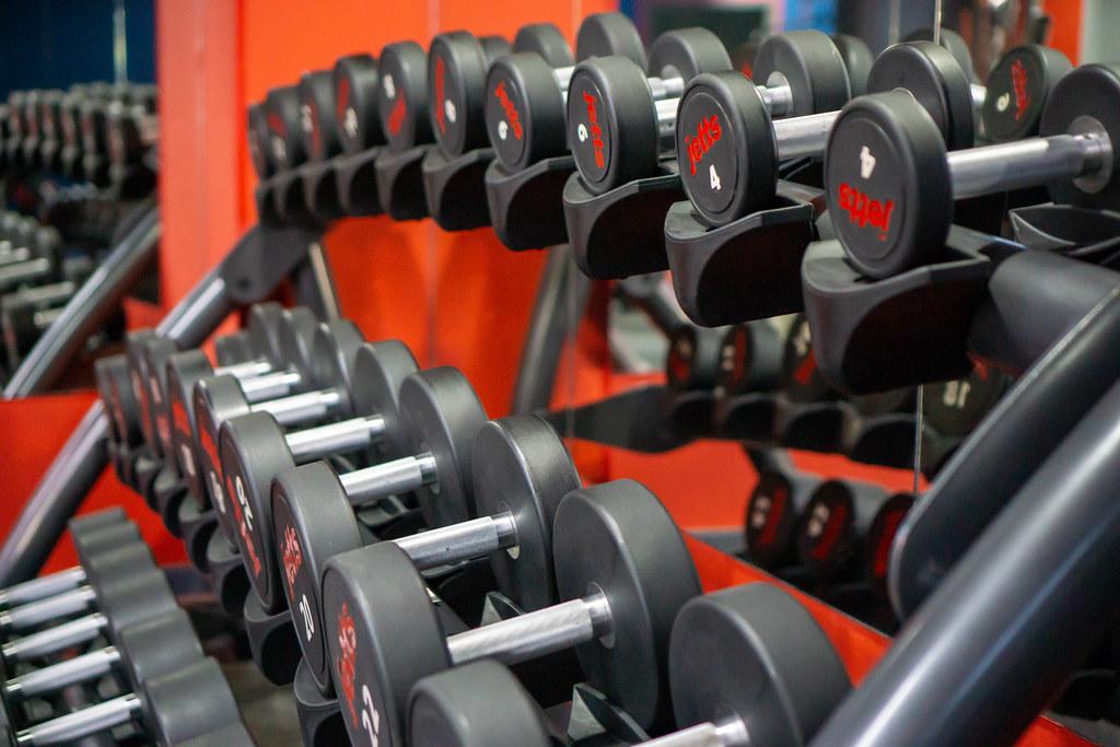 Verschiedene Kurzhantel-Gewichte auf einer Hantelablage in einem Fitnessstudio Nahaufnahme