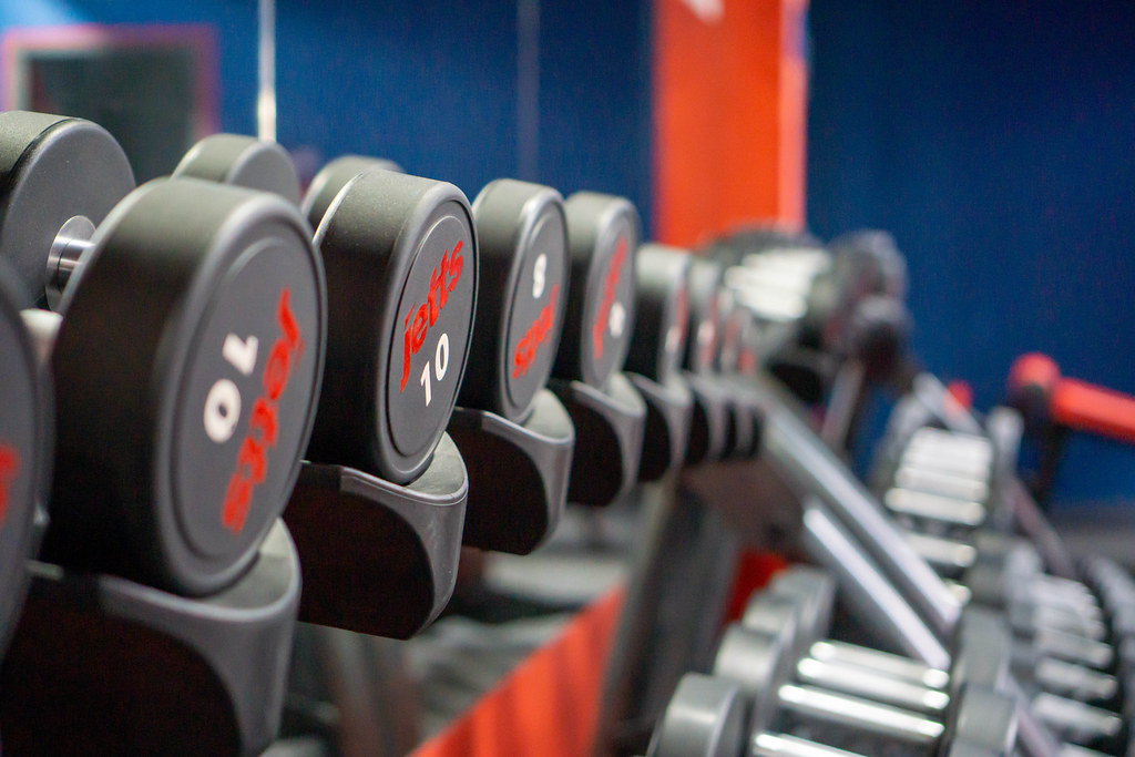Close Up Bokeh Photo of Dumbbell Weight on a Weights Rack in a Fitness Centre