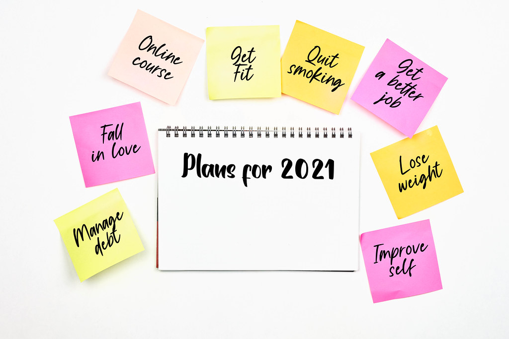 Plans for 2021 on notepad with copy space