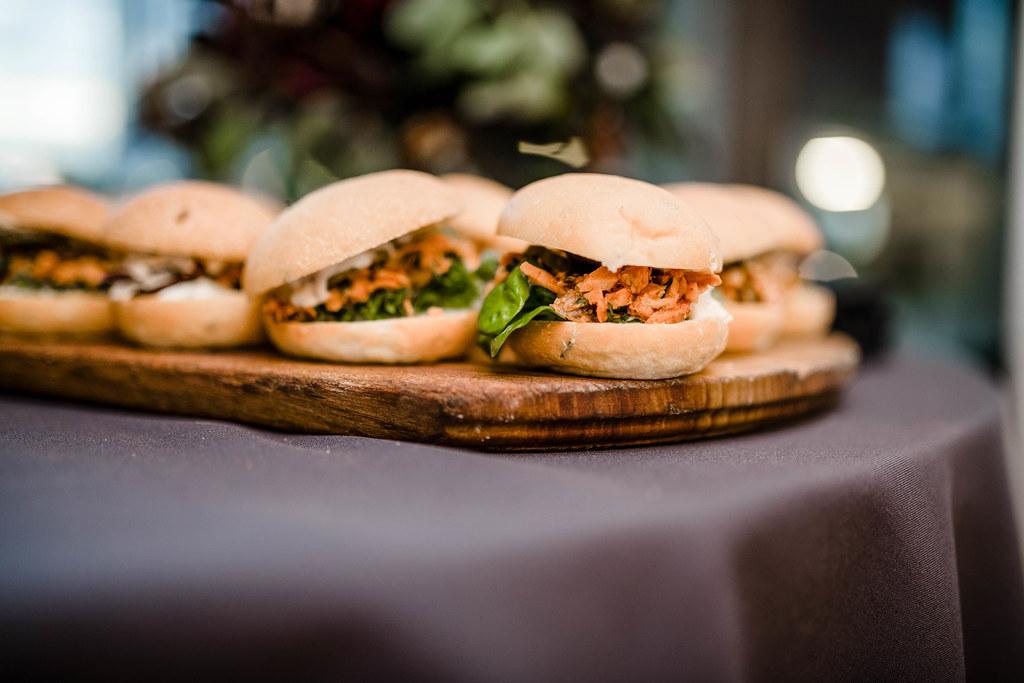 Little Pork Burgers On Wooden Plates