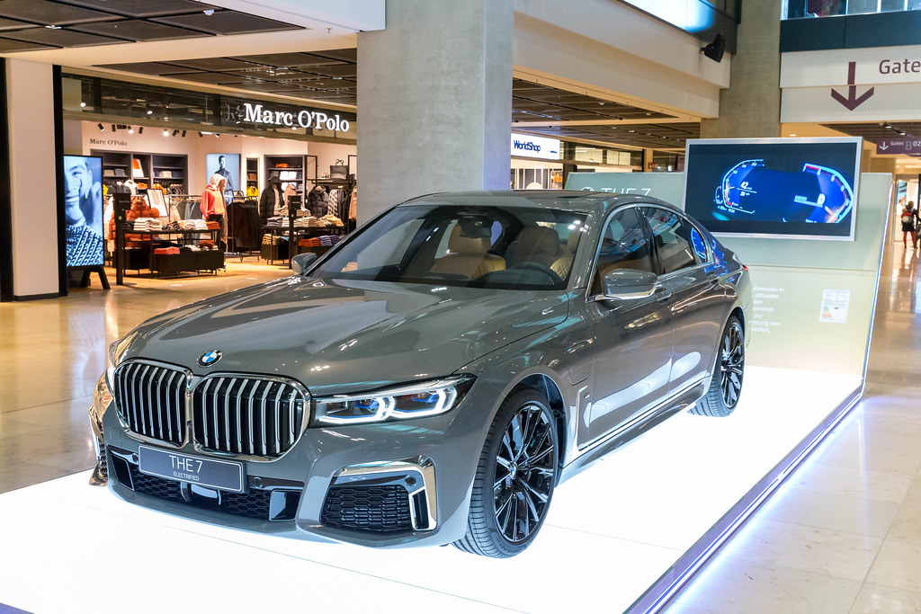 THE 7 Electrified: the BMW 745e plug-in hybrid limousine on display at Terminal 1 of BER airport