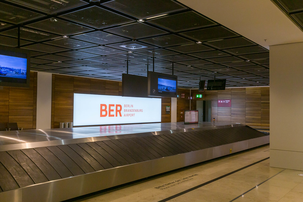 Baggage claim: an empty luggage belt at the arrivals of the newly opened BER Berlin Brandenburg Airport