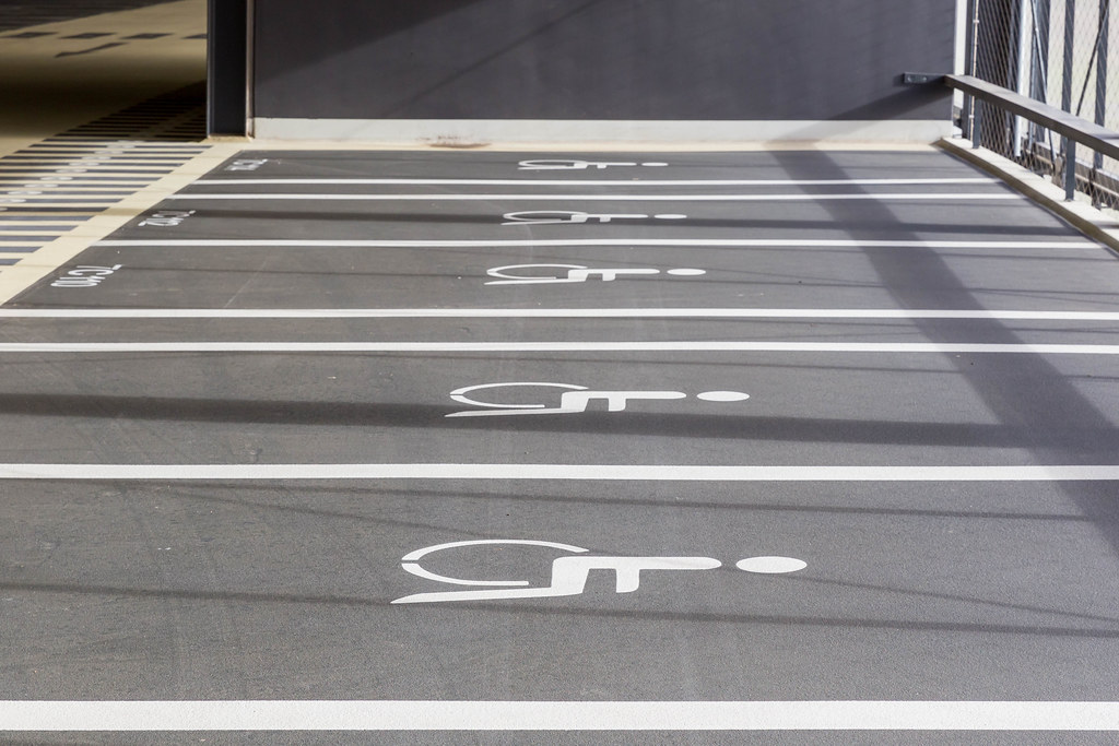 Designated parking area for passengers with disabilities at the new BER airport in Berlin