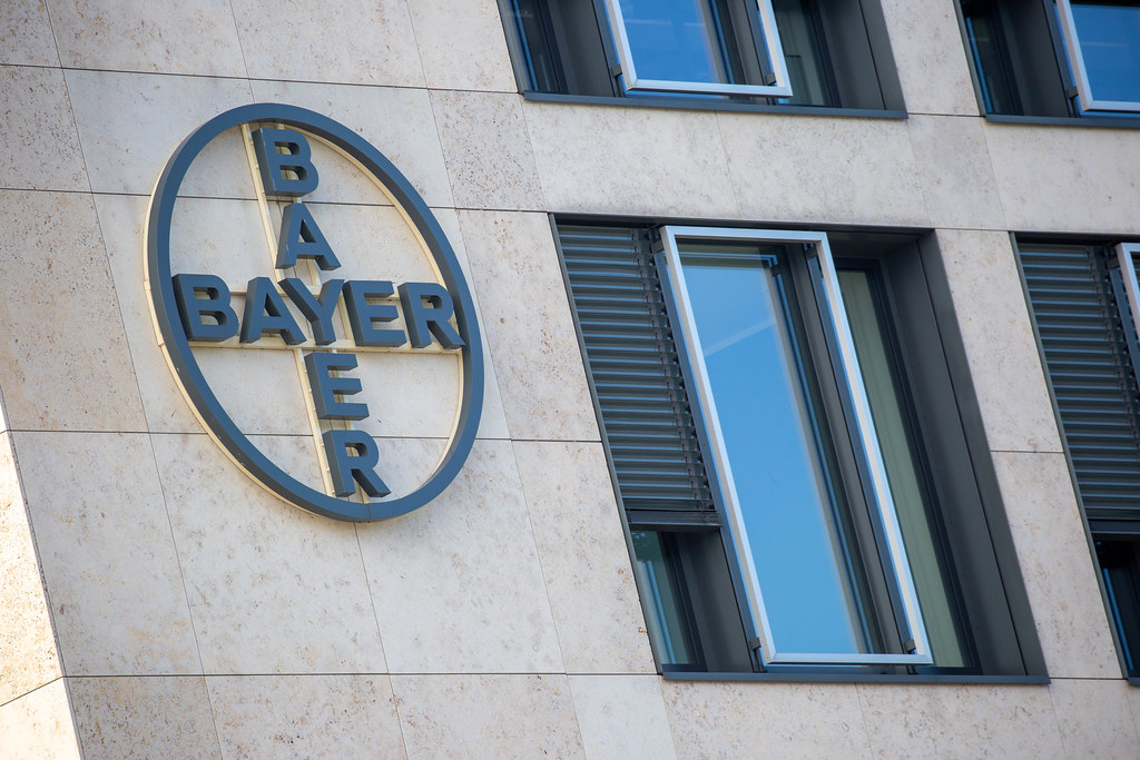 The Bayer logo on the ²BAC building at BER Airport. German pharma and life sciences company