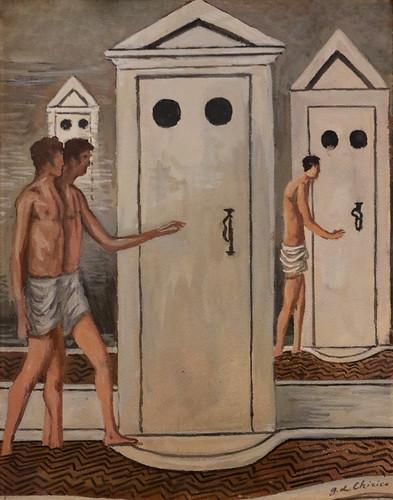 Giorgio De Chirico (Volos, 1888 - Roma, 1978) - Les bains mystérieux (1934-36) - tempera e tecnica mista su cartone - Museo del Novecento, Firenze