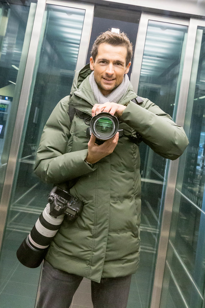 Memories of the first visit at the new Berlin airport. Self-portrait of the photographer in the elevator