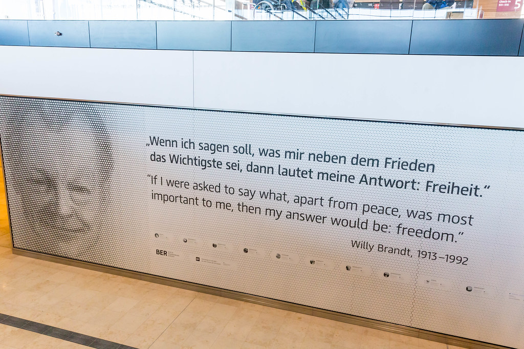 A quote by former German Chancellor Willy Brandt on the subject of peace and freedom at BER airport