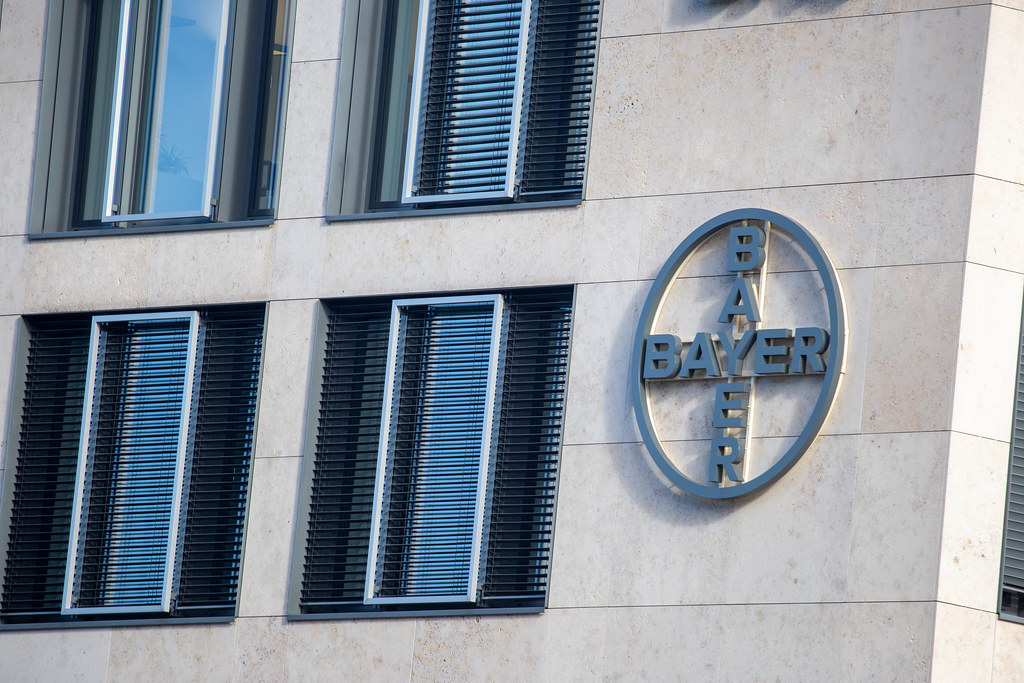 Logo of the pharmaceutical and chemicals company Bayer on the exterior of ²BAC building at BER airport