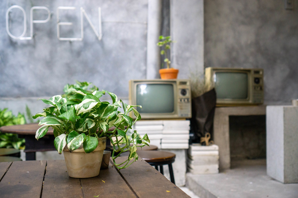 Cafe Outdoor Space with Seating Area, Vintage Television and Plants