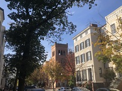 Houses and view to Georgetown Baptist Church, fall color, N Street NW, Georgetown, Washington, D.C.