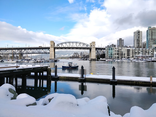 Snowy dock at Granville Island