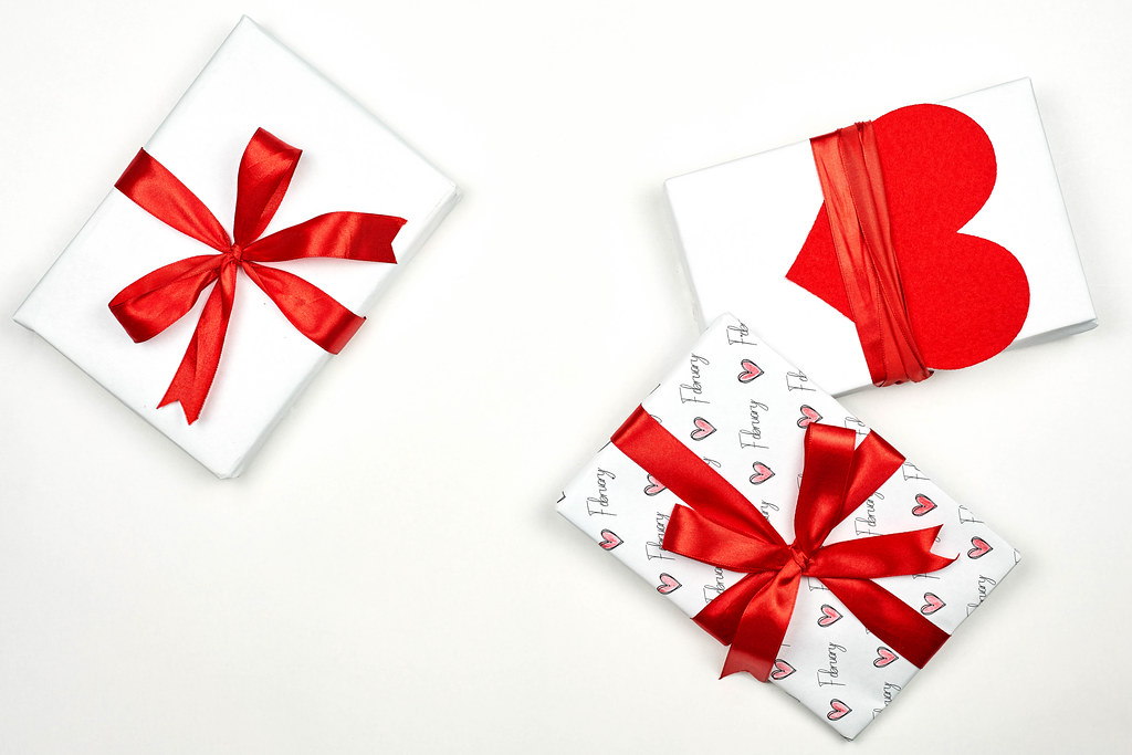 Presents for Valentine's day on white background