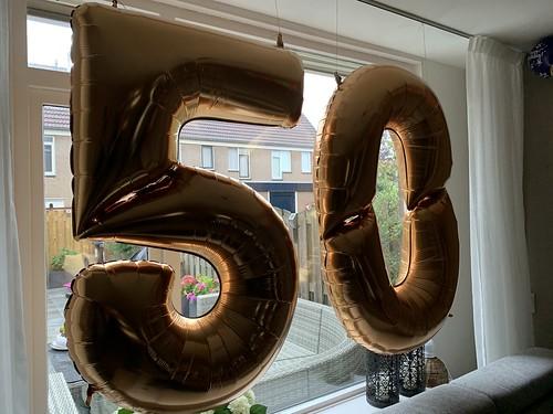 Folieballon Cijfer 50 Verjaardag 165cm hoog