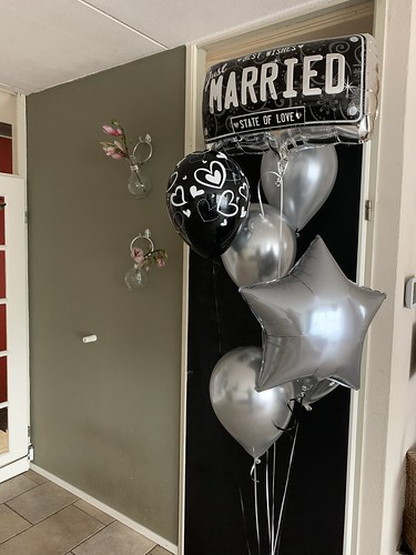 Ballonboeket Just Married Trouwen Huwelijk Zwart Zilver
